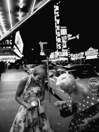 Las Vegas Chorus Girl, Kim Smith, and Her Roommate after Leaving a Casino