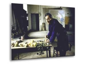 Painter Balthus at Work in His Studio in the Chateau de Chassy by Loomis Dean