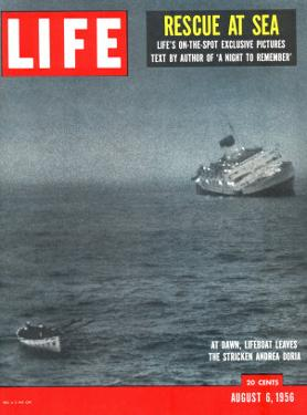 Rescue at Sea, Lifeboat Leaving Sinking Ship Andrea Doria, August 6, 1956 by Loomis Dean