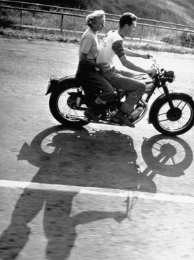 Riders Enjoying Motorcycle Riding Double by Loomis Dean
