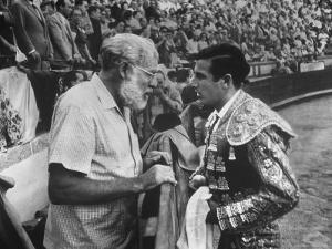 Spanish Matador Antonio Ordonez with Friend, Author Ernest Hemingway in Arena Before Bullfight by Loomis Dean