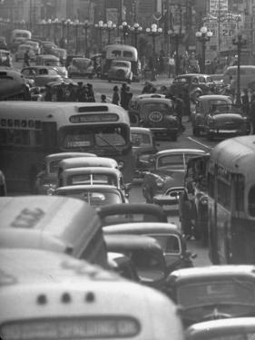 Traveling Through Rush Hour Traffic in Downtown Los Angeles by Loomis Dean