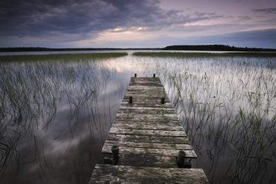 Lake Usma Viewed from a Mooring Stage on Moricsala Island with Dark Clouds, Moricsala, Latvia