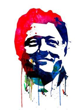 Bill Clinton Watercolor by Lora Feldman