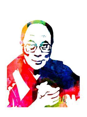 Dalai Lama Watercolor by Lora Feldman
