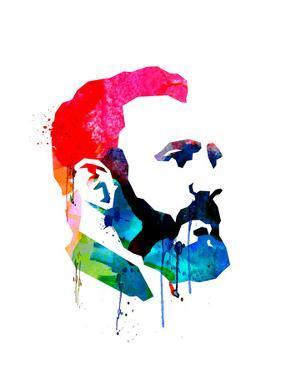 Fidel Castro Watercolor by Lora Feldman