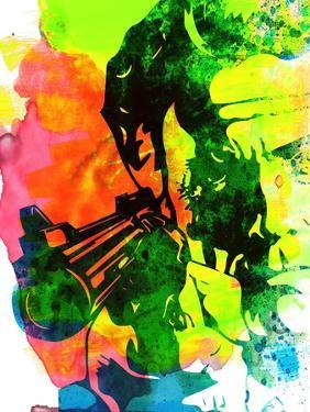 Harry with a Gun Watercolor 1 by Lora Feldman