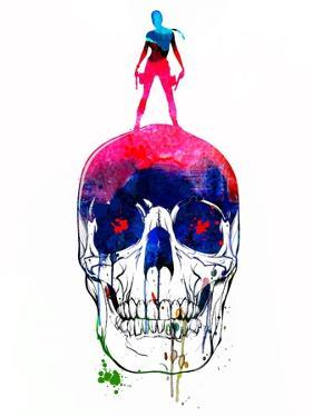 Lara and the Skull Watercolor by Lora Feldman