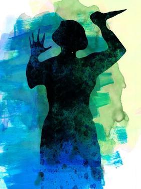 Psycho in the Shower Watercolor by Lora Feldman