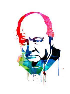 Winston Churchill Watercolor by Lora Feldman