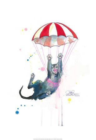 Parachute Cat by Lora Zombie