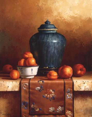 Ginger Jar with Peaches, Apricots & Tapestry by Loran Speck