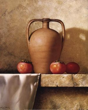 Olive Oil Jug with Persimmons by Loran Speck