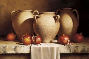 Urns with Persimmons and Pomegranates by Loran Speck
