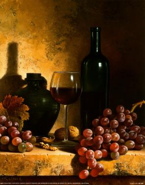 Wine Bottle, Grapes and Walnuts by Loran Speck