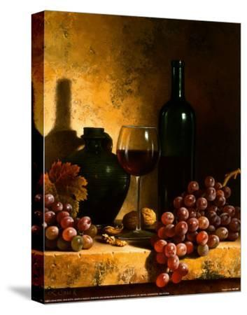 Wine Bottle, Grapes and Walnuts