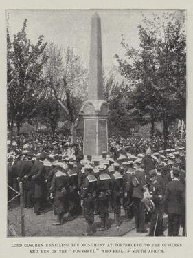 Lord Goschen Unveiling the Monument at Portsmouth to the Officers and Men of the Powerful Who Fell