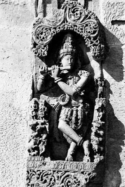 Lord Krishna Playing Flute Sculpture Belur Karnataka, India, 1985