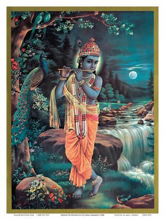 Lord Krishna Enchanter God Love Flute Vintage Religious Art Poster Print