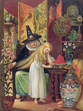 The Old Witch Combing Gerda's Hair in 'The Snow Queen', from Hans Christian Andersen's Fairy Tales