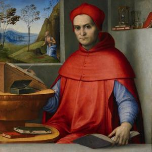 Portrait of a Cardinal in His Study, C.1510-20 (Oil and Tempera on Poplar Panel) by Lorenzo Costa