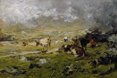 Mountain Landscape with Cows Grazing