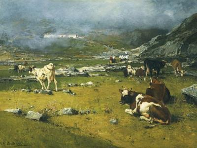 Mountain Landscape with Cows Grazing in Upper Area of Biella by Lorenzo Di Bicci