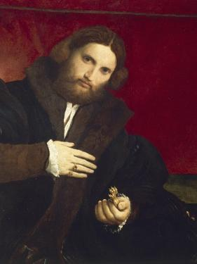 Portrait of Gentleman with Lion's Paw by Lorenzo Lotto