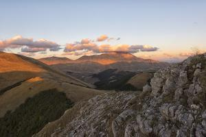 Mount Vettore at sunset, Sibillini Park, Umbria, Italy, Europe by Lorenzo Mattei