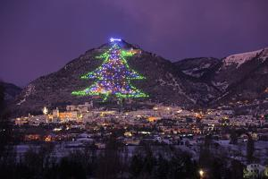 The town and the biggest Christmas Tree of the world, Gubbbio, Umbria, Italy, Europe by Lorenzo Mattei