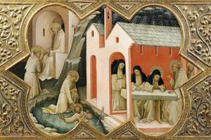 Episodes and Miracles of St. Benedict, Detail of Predella of Coronation of Virgin, 1414 by Lorenzo Monaco