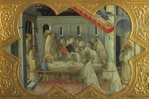 Funeral of St Bernardino, Detail of Predella of Coronation of Virgin by Lorenzo Monaco