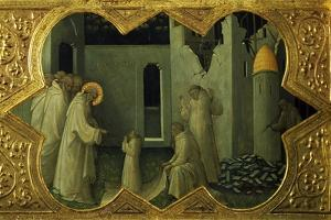 Saint Benedict Resuscitating a Monk, Detail from the Predella of the Altarpiece Coronation of Mary by Lorenzo Monaco