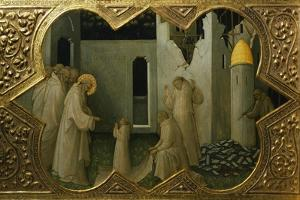 St. Benedict Saving Life of Young Monk, Detail from Predella of Coronation of Virgin, 1414 by Lorenzo Monaco