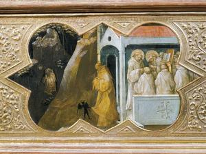 St. Benedict Tempted by Devil Founding His Palace, Detail of Predella of Coronation of Virgin, 1414 by Lorenzo Monaco