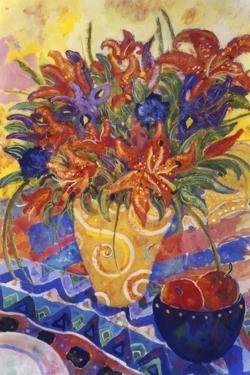 Tiger Lilies and Irises by Lorraine Platt