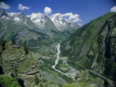 Val Ferret from Mount Chety Above Courmeyer, Les Grand Jorasses, Valle d'Aosta, Italy, Europe