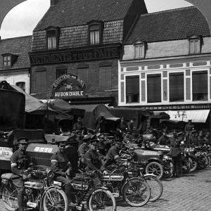 Lorries and Motorcycles of the Indian Army Corps, Merville, France, World War I, 1914-1918