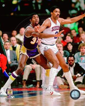 Los Angeles Lakers, Philadelphia 76ers - Magic Johnson, Julius Erving Photo