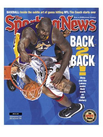 Los Angeles Lakers' Shaquille O'Neal and Philadelphia 76ers' Dikembe Mutombo - NBA Champions - June