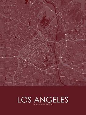 Los Angeles, United States of America Red Map
