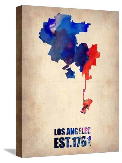 Los Angeles Watercolor Map 1-NaxArt-Stretched Canvas Print