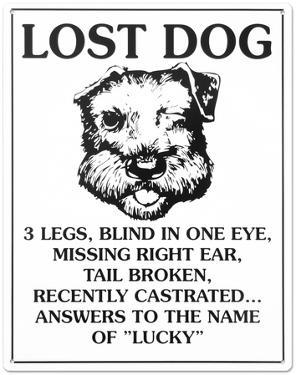 Lost Dog Tin Sign