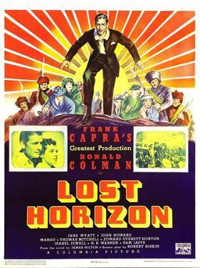 LOST HORIZON, top center: Ronald Colman, bottom left: Ronald Colman on window card, 1937.