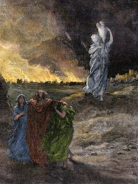Lot's Wife Becomes a Pillar of Salt Because She Looked Back at Sodom's Destruction