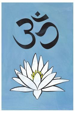 Lotus Meditation AUM Blue Plastic Sign