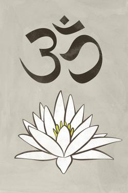 Lotus Meditation AUM Blue White Print Poster