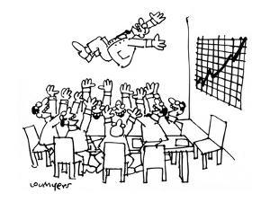 Boardroom tossing their boss up in the air because a graph of their busine… - New Yorker Cartoon by Lou Myers