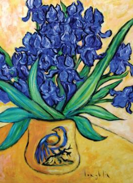 Irises in Blue Vase by Loughlin