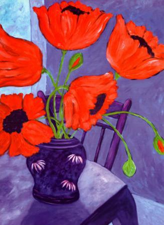 Poppies in Blue Room by Loughlin